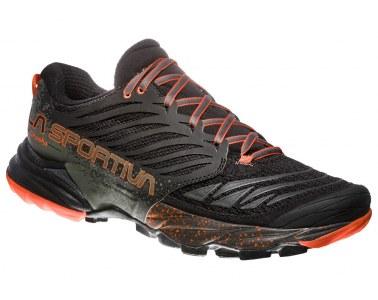 Zapatilla de trail running La Sportiva Akasha Black / Tangerine