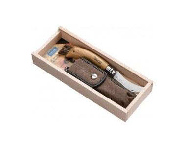 Cuchillo Opinel champiñon Inox 08 con cepillo 8cm estuche mas funda